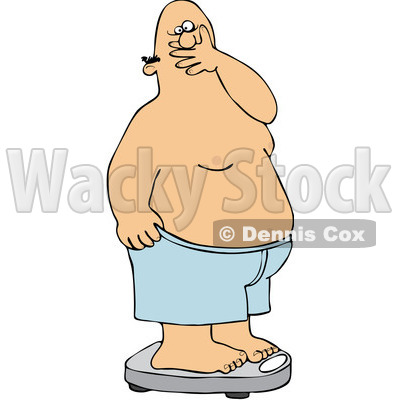 Royalty-Free (RF) Clipart Illustration of a Man Covering His Mouth In Shock After Weighing Himself On A Scale © djart #97357