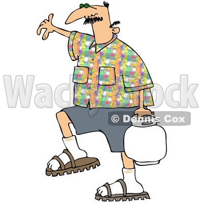 Royalty-Free (RF) Clipart Illustration of a Caucasian Man In A Patterned Shirt, Carrying A Bbq Propane Tank © djart #97789