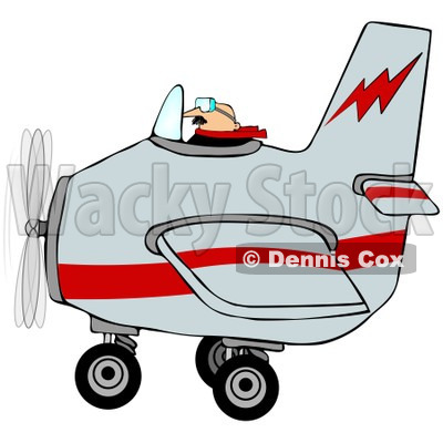 Royalty-Free (RF) Clipart Illustration of a Male Pilot Flying A Gray And Red Airplane © djart #98782