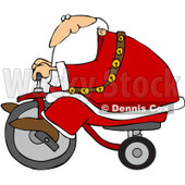 Royalty-Free (RF) Clipart Illustration of Santa Riding By On A Trike © djart #100127