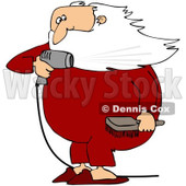 Royalty-Free (RF) Clipart Illustration of Santa Holding A Hair Brush And Blow Drying His Beard © Dennis Cox #100130