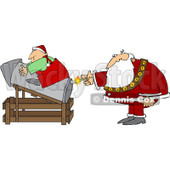 Royalty-Free (RF) Clipart Illustration of Santa Lighting A Rocket With An Elf On Top © Dennis Cox #100264