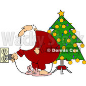 Royalty-Free (RF) Clipart Illustration of Santa In Pajamas, Plugging In His Christmas Tree Lights © djart #100265