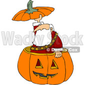 Royalty-Free (RF) Clipart Illustration of Santa Popping Out Of A Halloween Pumpkin And Holding The Top Over His Head © Dennis Cox #100459