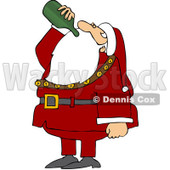 Royalty-Free (RF) Clipart Illustration of Santa Tilting His Head Back And Drinking Wine From A Bottle © djart #100460