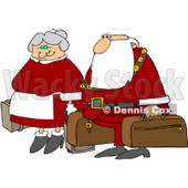 Royalty-Free (RF) Clipart Illustration of Santa And The Mrs Carrying Luggage © djart #101254