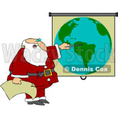 Royalty-Free (RF) Clipart Illustration of Santa Pointing To A World Map While Discussing Christmas Deliveries © Dennis Cox #101255
