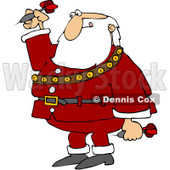 Royalty-Free (RF) Clipart Illustration of a Santa Biting His Lip And Playing Darts © djart #101258