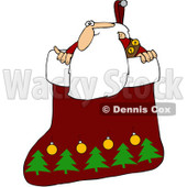 Royalty-Free (RF) Clipart Illustration of Santa Looking Out Of A Christmas Stocking © djart #101261