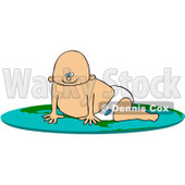 Royalty-Free (RF) Clipart Illustration of a Caucasian Baby Boy Crawling On A Flat Globe © Dennis Cox #101264