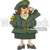 Royalty-Free (RF) Clipart Illustration of an Army Woman Saluting With One Hand © Dennis Cox #101266