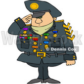 Royalty-Free (RF) Clipart Illustration of a Military Man Saluting And Wearing His Badges © Dennis Cox #101267