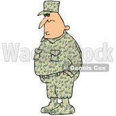 Royalty-Free (RF) Clipart Illustration of an Army Man In A Camouflage Uniform, Hid Hands In His Pockets © Dennis Cox #101269