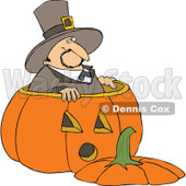 Royalty-Free (RF) Clipart Illustration of a Thanksgiving Pilgrim Standing In A Giant Pumpkin © Dennis Cox #101270