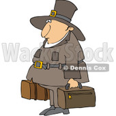 Royalty-Free (RF) Clipart Illustration of a Thanksgiving Pilgrim Carrying Luggage © Dennis Cox #101273
