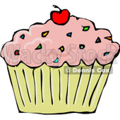 Royalty-Free (RF) Clipart Illustration of a Strawberry Frosted Cupcake With Sprinkles And A Cherry © djart #101274