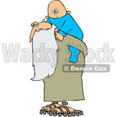 Royalty-Free (RF) Clipart Illustration of an Old Man, Father Time, Carrying A New Year Baby On His Back © Dennis Cox #101275