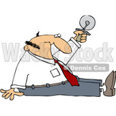 Royalty-Free (RF) Clipart Illustration of a Businessman Sitting On The Floor And Holding Up A Pizza Cutter © djart #101277