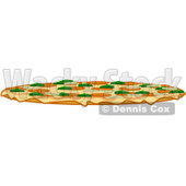 Royalty-Free (RF) Clipart Illustration of a Side View Of A Large Combo Pizza Pie © djart #101279