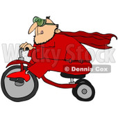 Royalty-Free (RF) Clipart Illustration of a Man In A Red Super Hero Suit, Riding A Trike © djart #101280