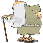 Royalty-Free (RF) Clipart Illustration of an Old Man, Father Time, Holding His Back And Walking With A Cane © Dennis Cox #101282