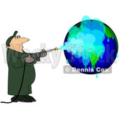 Royalty-Free (RF) Clipart Illustration of a Worker Man Pressure Washing A Globe © djart #101283