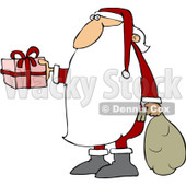 Royalty-Free (RF) Clipart Illustration of Santa Claus With A Really Long Beard, Carrying A Sack And Holding Out A Gift © djart #101703