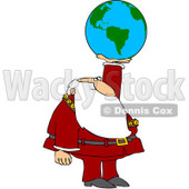 Royalty-Free (RF) Clipart Illustration of Santa Holding Up An American Globe © djart #101704