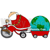 Royalty-Free (RF) Clipart Illustration of Santa Riding A Trike And Pulling A Globe In A Wagon © Dennis Cox #101705