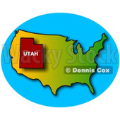 Royalty-Free (RF) Clipart Illustration of a Red Outline Of Utah On A USA Map © Dennis Cox #102657