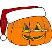 Royalty-Free (RF) Clipart Illustration of a Halloween Pumpkin Wearing A Santa Hat © Dennis Cox #104294
