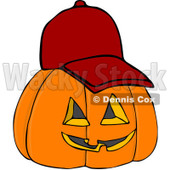 Royalty-Free (RF) Clipart Illustration of a Halloween Pumpkin Wearing A Red Baseball Cap © Dennis Cox #104295