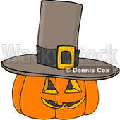 Royalty-Free (RF) Clipart Illustration of a Halloween Pumpkin Wearing A Pilgrim Hat © Dennis Cox #104297