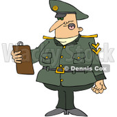 Royalty-Free (RF) Clipart Illustration of an Army Man Reading A List From A Clipboard © Dennis Cox #104298