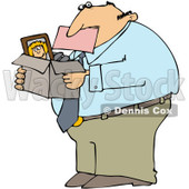 Royalty-Free (RF) Clip Art Illustration of a Fired Businessman Biting A Pink Slip And Carrying A Box Of His Stuff © Dennis Cox #1044045