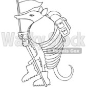 Royalty-Free (RF) Clip Art Illustration of a Hiker Armadillo With A Flag And Stick © Dennis Cox #1044046