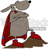 Royalty-Free (RF) Clipart Illustration of a Super Dog Hero With One Leg On A Boulder © Dennis Cox #1044961