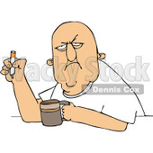 Royalty-Free (RF) Clip Art Illustration of a Grumpy Old White Man Smoking A Cigarette Over Coffee © djart #1050673