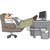 Royalty-Free (RF) Clip Art Illustration of a Businessman Relaxing With His Feet On His Desk © Dennis Cox #1050675