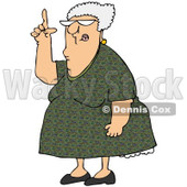 Royalty-Free (RF) Clip Art Illustration of a Senior Woman Pointing Up © Dennis Cox #1050676