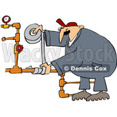 Royalty-Free (RF) Clip Art Illustration of a Plumber Using Duct Tape To Fix Pipes © djart #1050678