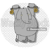 Royalty-Free (RF) Clip Art Illustration of a Chained Hanging Elephant On A Brick Wall © djart #1050683