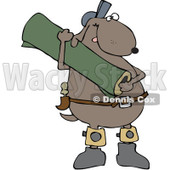 Royalty-Free (RF) Clip Art Illustration of a Carpet Layer Dog Carrying A Rug © djart #1050684