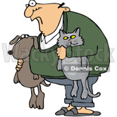 Royalty-Free (RF) Clip Art Illustration of a Man Holding His Dog And Cat © Dennis Cox #1050687