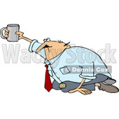 Royalty-Free (RF) Clip Art Illustration of a Broke Businessman Begging On His Knees © djart #1050688