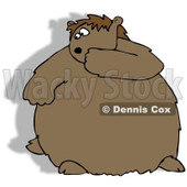Royalty-Free (RF) Clip Art Illustration of a Chubby Groundhog Looking Back At His Shadow © Dennis Cox #1050689