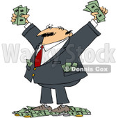 Royalty-Free (RF) Clip Art Illustration of a Wealthy Man With Tons Of Cash © djart #1050690