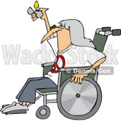 Royalty-Free (RF) Clip Art Illustration of a Hippie Man In A Wheelchair, Holding Up A Lighter © djart #1050691