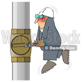 Royalty-Free (RF) Clip Art Illustration of a Worker Trying To Adjust A Pipe With A Small Wrench © djart #1050693