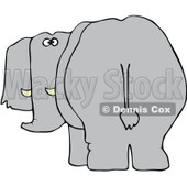 Royalty-Free Vector Clip Art Illustration of a Rear View Of An Elephant Looking Back © Dennis Cox #1051552